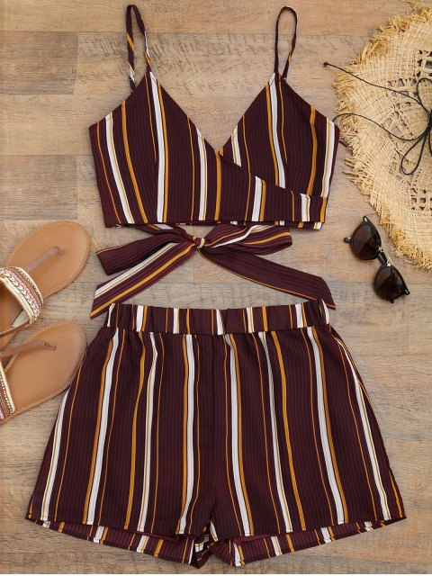 online Striped Cropped Wrap Top with Shorts - BURGUNDY M Mobile