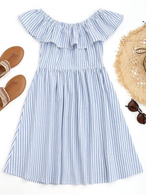 Vestido de playa a rayas con volantes en los hombros - Azul y Blanco L Mobile