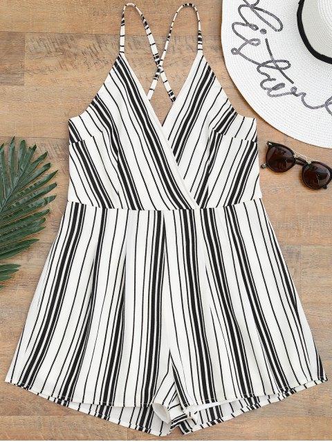sale Cami Surplice Striped Beach Romper - WHITE AND BLACK M Mobile