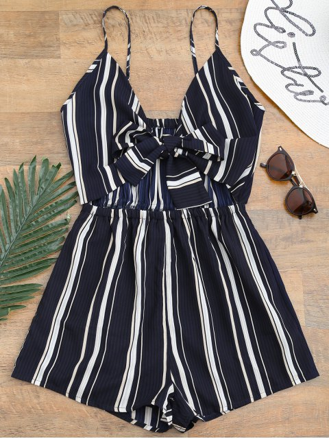 women Tied Cami Striped Beach Romper - DEEP BLUE S Mobile