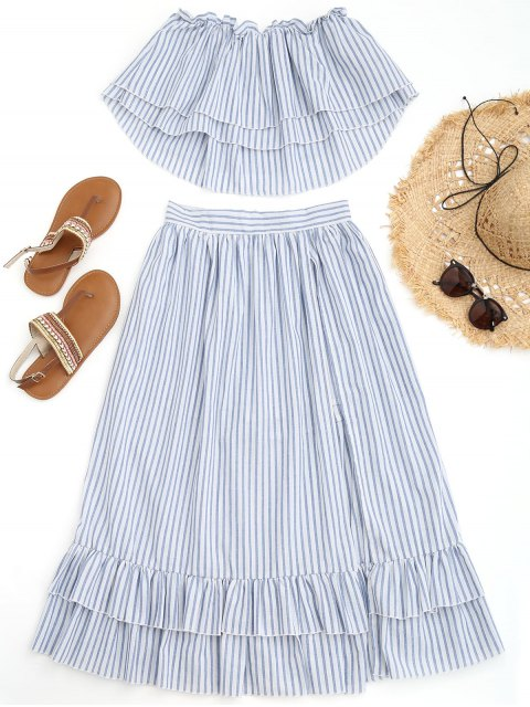 womens Off Shoulder Striped Top with Overlay Maxi Shorts - BLUE AND WHITE L Mobile