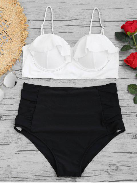 trendy High Waisted Underwire Plus Size Bikini Set - WHITE XL Mobile