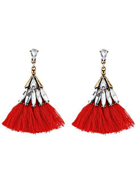 womens Crystal Embellished Fan Shape Fringed Drop Earrings - RED  Mobile