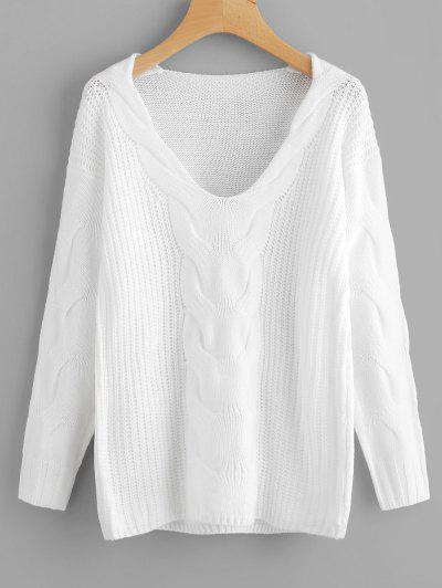 Pullover V Neck Cable Knit Sweater - White S