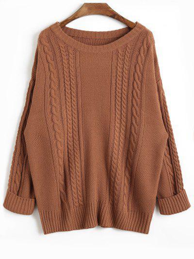 Drop Shoulder Plain Cable Knit Sweater - Coffee