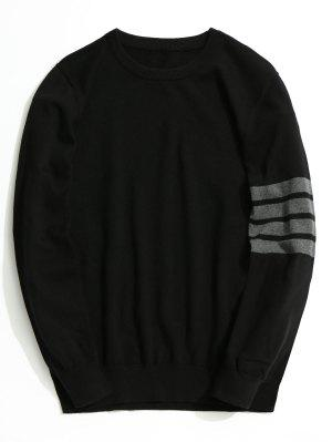 Crew Neck Striped Sleeve Knitwear