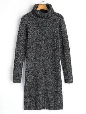Vestido Jersey De Cuello Alto De Manga Larga - Gris Oscuro