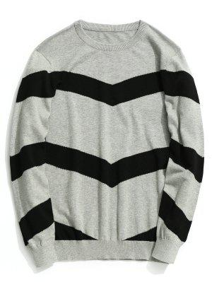 Stripe Pullover Sweater - Cinza Xl