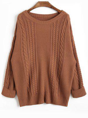 Suéter de Punto de Cable de Llanura de Hombro de Caída