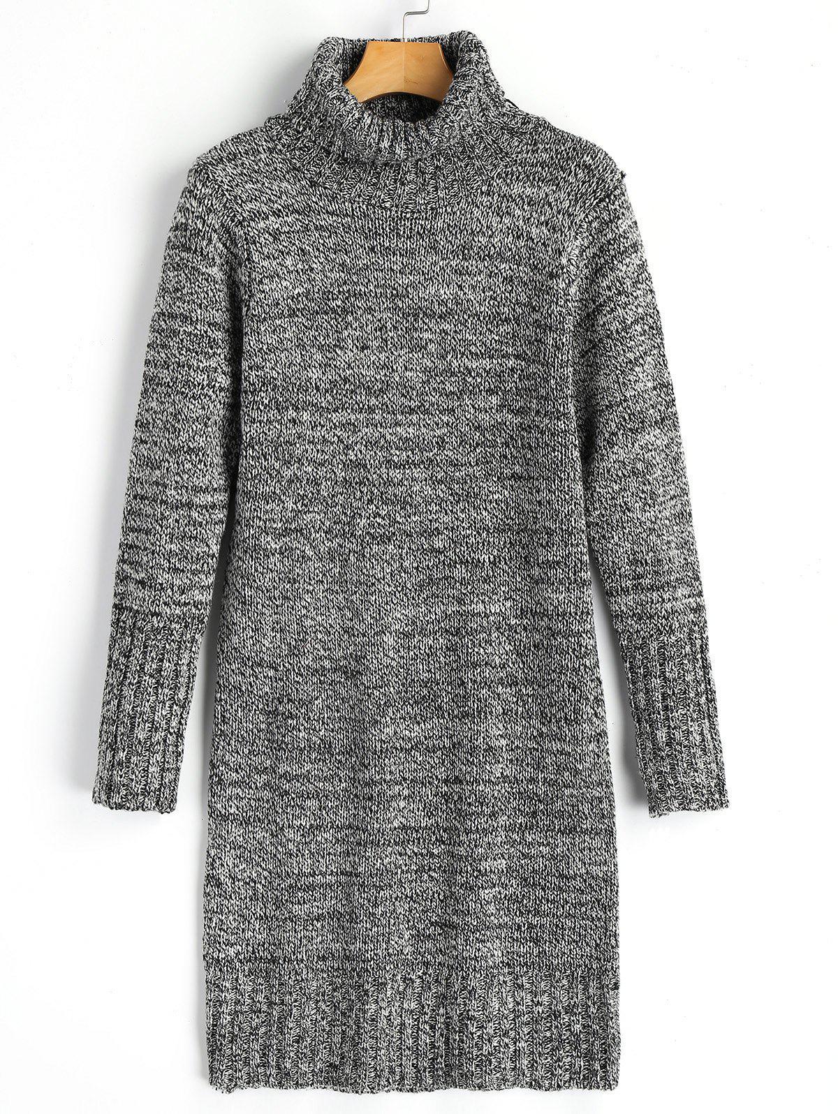 Long Sleeve Turtleneck Heathered Sweater Dress