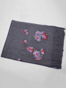 Echarpe Floral Com Bordados De Estilo Ethinc Fraldas - Cinza Escuro