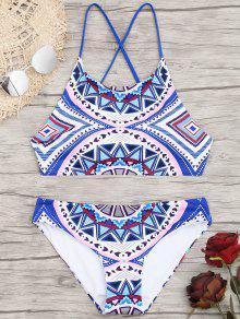 Bikini à Motif Géométrique Croisé - M