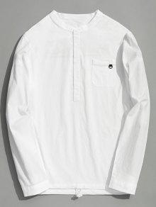 نصف زر إلكتروني قميص - أبيض 3xl