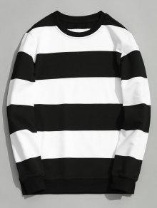 لباس المحبوك طاقم الملاحة كتلة اللون - أبيض وأسود Xl