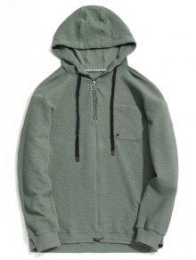 Sweat à Capuche Avec Poche à Demi-Zip - Vert Cendré 2xl