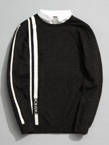 Pull Rayé Fashion à Double Couches - Vert Cendré 2xl