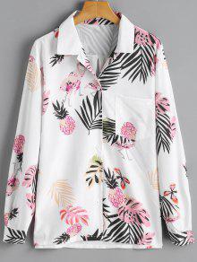 Chemise De Poche à Imprimé Feuille Et Ananas - Blanc