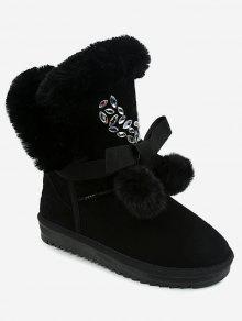 بومبوم القوس الديكور أحذية الثلوج - أسود 39