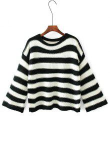 Kimono Sleeve Stripes Pullover Sweater - Listras