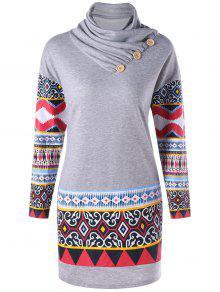 كومة طوق طويلة الأكمام العرقية طباعة اللباس - رمادي M