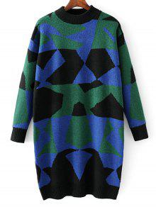 Buy Mock Neck Geometric Pullover Sweater - BLUE ONE SIZE