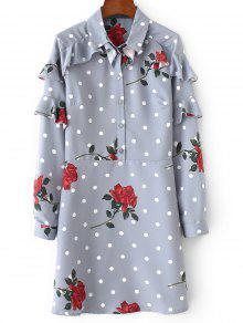 Robe Volantée Découpée Florale à Pois - Gris Bleuté S