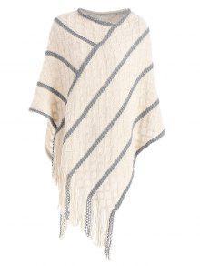 Suéter De Punto De Cable De Flecos Suéter - Blancuzco