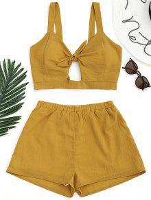 Top Curto De Praia Recortado Com Amarra E Short - Amarelo Gengibre S