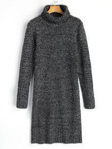 فستان سويت عالية الرقبة طويلة الأكمام - الرمادي العميق