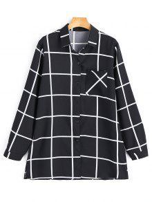 Camisa A Cuadros Con Abertura Lateral - Negro S