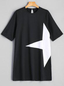 فستان تونك مرسوم بالنجمة - أسود L