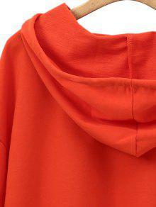 Naranja Drawstring Letter Hoodie S Shoulder Drop wIqfE5n