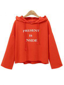 Shoulder Hoodie Letter Drop Drawstring S Naranja RdqqY