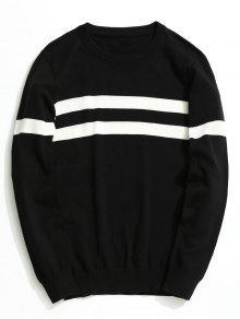 لباس المحبوك مخطط - أسود 3xl