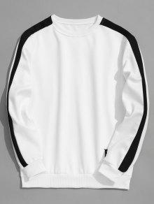 Sweat-shirt Noir Et Balnc En Molleton - Blanc L