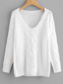 Suéter Con Cuello En V Con Cuello En Jersey - Blanco L