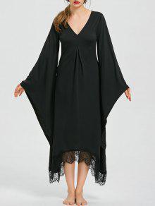 هالوين الخامس الرقبة مضيئة كم فستان طويل الخط - أسود 2xl