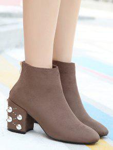 discount best seller sale real Rivets Rhinestone Chunky Heel Boots - Khaki 36 JooGCgks