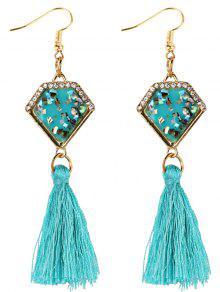 Pendientes Con Flecos De Zafiro Artificial Adornados Con Diamantes De Imitación - Cielo Azul