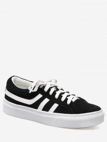 كتلة اللون مخطط أحذية تزلج - أسود 35