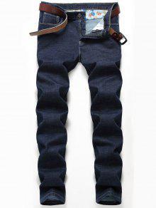 Detalhe Do Bordado Jeans De Perna Reta - Azul Escuro 38
