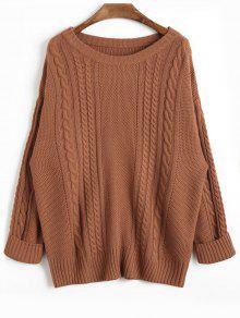 Drop Shoulder Plain Cable Knit Sweater