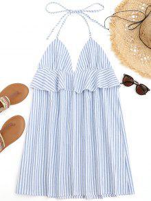 الرسن مخطط الكشكشة فستان الشاطئ - ازرق وابيض L