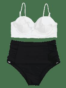 Talla Bikini Blanco Cuello Xl Talle De Conjunto Grande De Con Redondo Alto Y HxqzB5YP