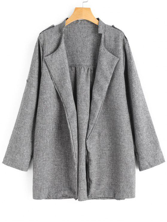 outfit Plus Size Heathered Open Front Coat - GRAY 3XL