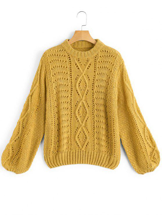 unique Lantern Sleeve Sheer Pullover Sweater - MUSTARD ONE SIZE