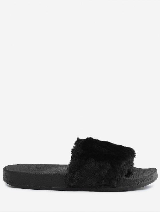 trendy Faux Fur Open Toe Slippers - BLACK 36