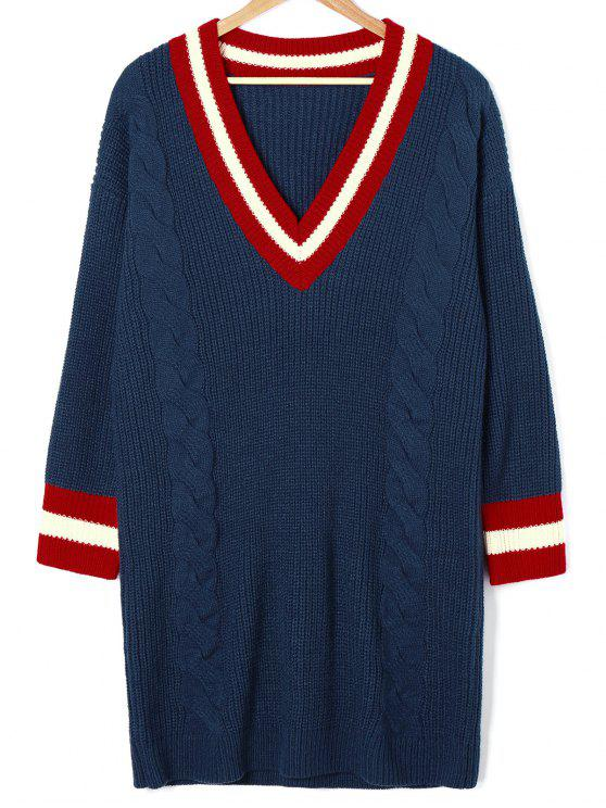 Cable Knit Mini Cricket Pullover Kleid - Cadetblue S