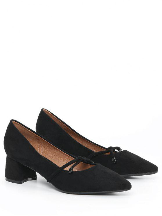 online Bandage Pointed Toe Chunky Heel Pumps - BLACK 40