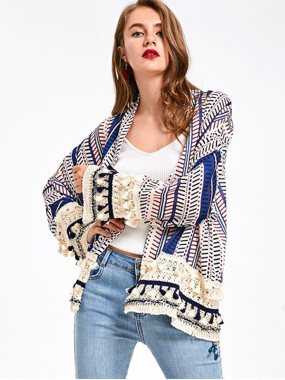 Kurz Kimono mit Druck und Quaste - Blau XL